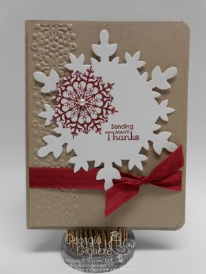 Handmade Thank You Card with Snowflake Soire