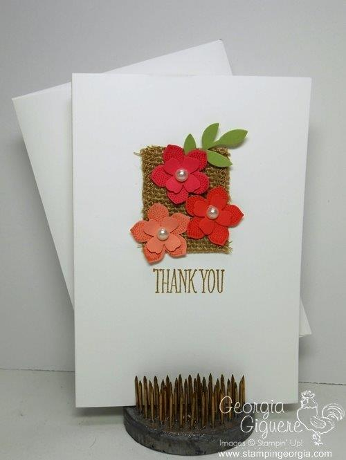 Diy greeting cards archives page 121 of 121 stampin with georgia petite petals meets burlap ribbon to make a perfect card m4hsunfo