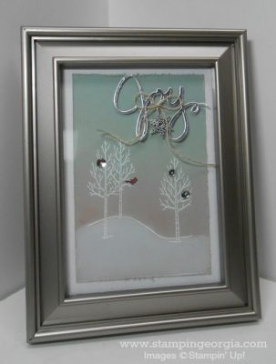 DIY Framed Art with White Christmas Stamps