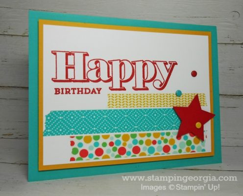 Quick and Easy Birthday Card with Cherry on Top Washi Tape