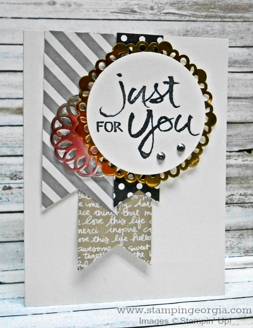 Quick & Easy Card with Watercolor Words Stamps and Metallic Doilies