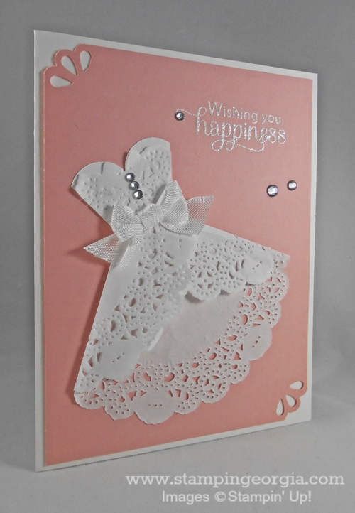 adorable wedding dress card with tea lace doily  stampin