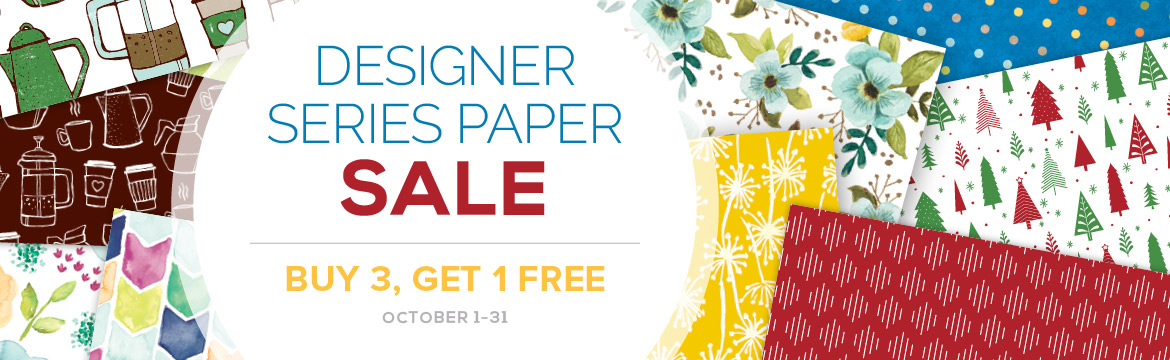 It's time to stock up on pretty paper! Stampin' Up!'s incredible offer on paper is back by popular demand . . . Buy three packages of select Designer Series Paper and get one FREE during October! Shop Oct 1-31 @ www.georgia.stampinup.net