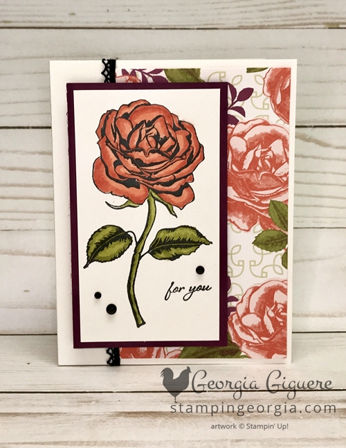 Graceful Garden card features the new Stampin' Blends and Petal Garden Designer Series Paper. Complete details on my blog . . . www.stampingeorgia.com #stampinblends #gracefulgarden #alcoholmarkers #easycoloringproject #petalgardenpaper