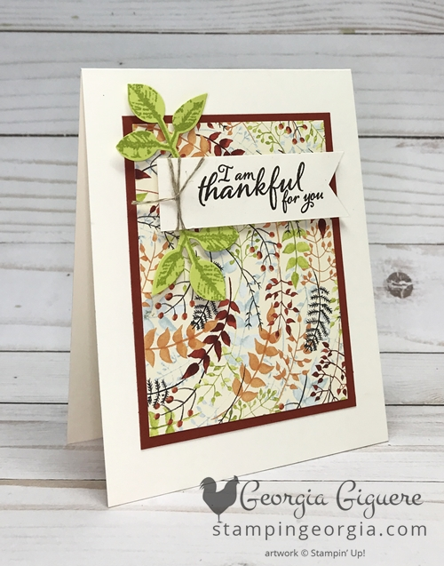 Quick and cute thank you card features both the Painted Autumn Designer Series Paper and Painted Harvest Bundle. Complete details on my blog . . . www.stampingeorgia.com #paintedharvestbundle #paintedautumndesignerseriespaper #diythankyoucard