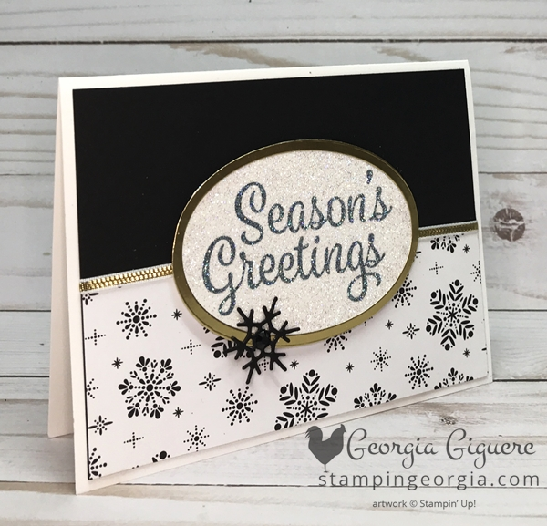 Black & White Snowflake Sentiments Card features my dazzling sentiment technique and the Merry Little Christmas Designer Series Paper. Complete details on my blog . . . www.stampingeorgia.com