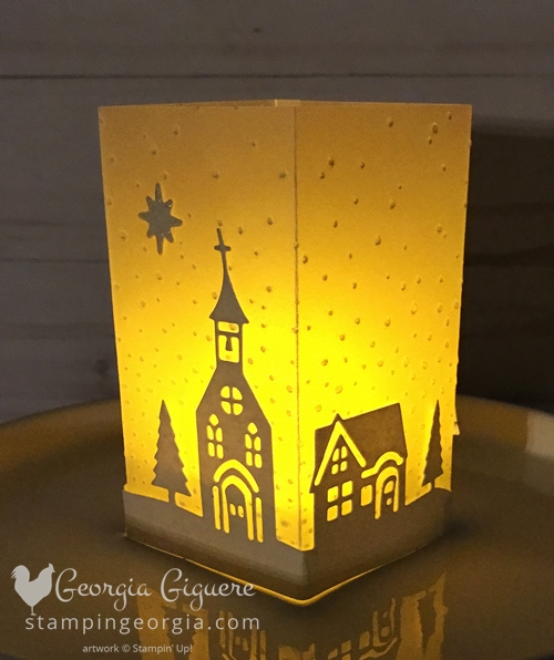 DIY Luminary made with cardstock vellum and Hometown Greetings Edgelits. Great as a quick and easy gift or decor! Complete details with video tutorial on my blog . . . www.stampingeorgia.com #hometowngreetingsedgelits #diyluminary #luminary