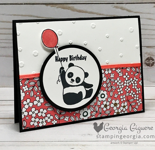 Kicking off Sale-a-bration 2018 with a Party Pandas card! Features the FREE stamp set and the Pick A Pattern Designer Series Paper. Complete details at www.stampingeorgia.com