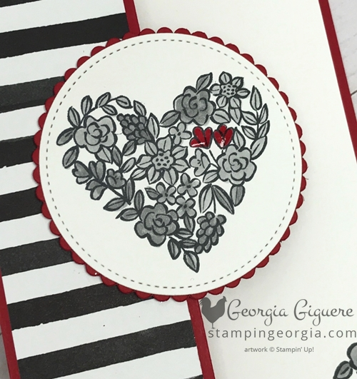 Fun fold black, red, and white valentine/wedding card features Heart Happiness stamp set and Petal Passion Designer Paper. Details on my blog . . . www.stampingeorgia.com #hearthappiness #petalpassiondesignerpaper #funfoldtechnique #valentineidea #weddingidea