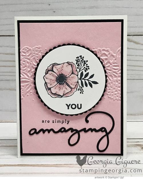 Amazing You card pairs the stamp set with the coordingating thinlits, Celebrate You Thinlits Dies. The Petal Pairs Embossing Folder adds depth to the background. Complete details and cutting tips on my blog: www.stampingeorgia.com Shop: www.georgia.stampinup.net #amazingyoustamps #celebrateyouthinlitsdies #petalpairsembossingfolder #handmadecard