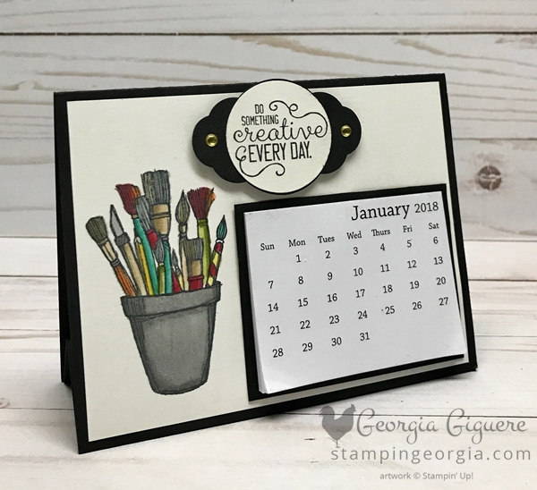 Check out this easy and adorable desk calendar . . . features the Crafting Forever stamp set colored with the Stampin' Blends! Complete details on my blog . . . www.stampingeorgia.com #diydeskcalendar #craftingforever