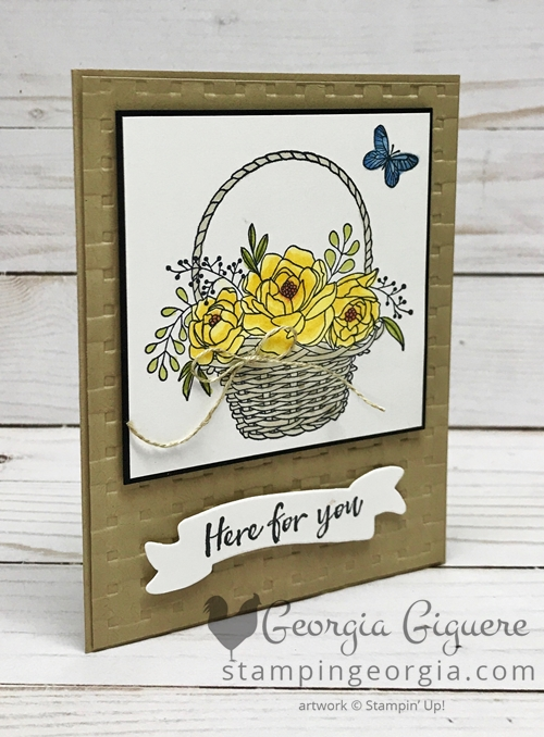 Blossoming Basket Bundle Card features both the stamp set and Basket Weave Embossing Folder . . . both are free with a qualifying order during Sale-a-bration 2018! Complete details on my blog: www.stampingeorgia.com #blossomingbasketbundle #saleabration2018 #basketweaveembossingfolder