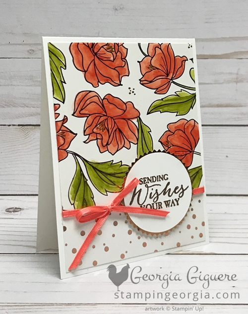 Springtime Foils Specialty Designer Series Paper meets the Stampin' Blends! You'll find complete details for this card on my blog. . . www.stampingeorgia.com #sweetsoireespecialtydesignerseriespaper #sweetsoireepaper #diycardidea #stampinblends