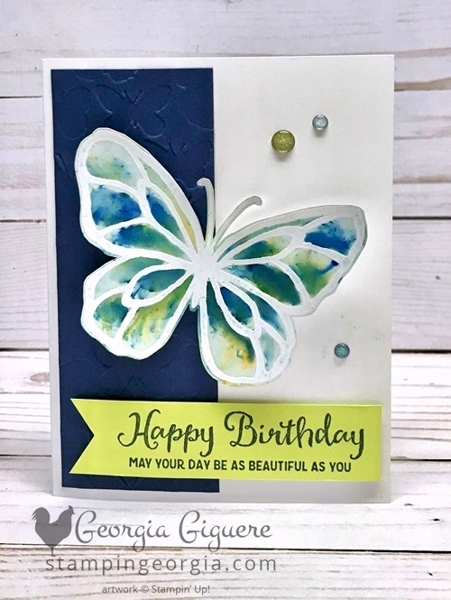 Beautiful Day Butterfly Card features emboss resist technique on Glossy cardstock with Brusho pigment powders. Details on my blog: www.stampingeorgia.com Shop: www.georgia.stampinup.net #beautifuldaystamps #brushopigmentpowders #embossresisttechnique #birthdaycard