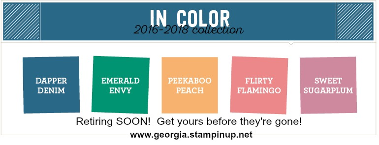 Retiring In Colors 2016-18 . . . get them before they're gone! SHOP In Colors: www.georgia.stampinup.net