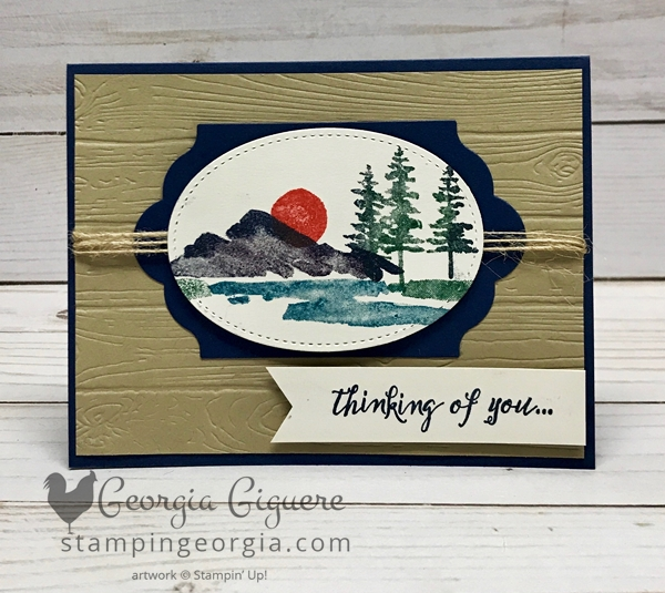 Waterfront Card features rock & roll stamp technique. Complete details on my blog: www.stampingeorgia.com Shop: www.georgia.stampinup.net #waterfrontstamps #masculinecard #pinewoodplanksembossingfolder