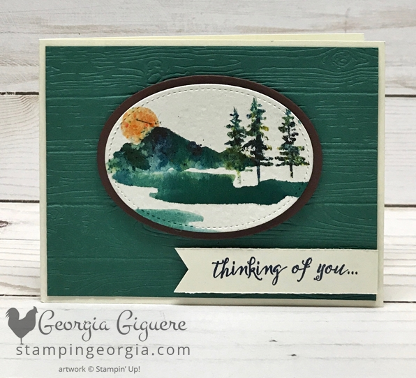 Waterfront Card features Brusho direct to stamp technique. Complete details on my blog: www.stampingeorgia.com Shop: www.georgia.stampinup.net #waterfrontstamps #masculinecard #pinewoodplanksembossingfolder