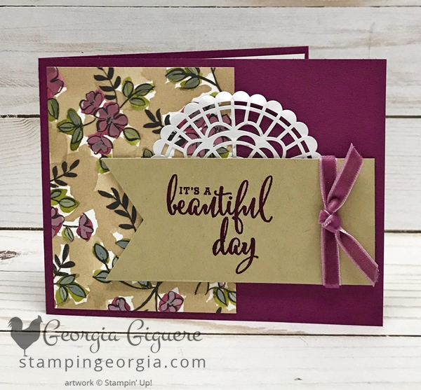 "Share What You Love Suite Card features the Love What You Do stamp set, Share What You Love Specialty Designer Series Paper, and the Pearlized Doilies! All part of the ""Gotta Have It All"" Bundle available only in May! Details: www.stampingeorgia.com SHOP: www.georgia.stampinup.net"