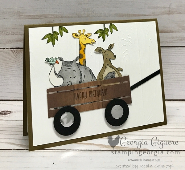 Animal Outing card features a wagon cut with the Wood Crate Framelits. Details on my blog: www.stampingeorgia.com