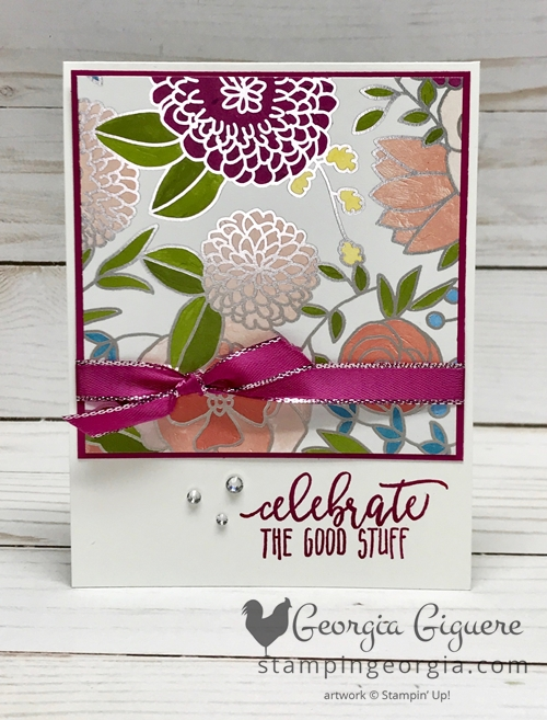 Check out this easy card made with the Sweet Soiree Specialty Designer Series Paper! Details on my blog: www.stampingeorgia.com Shop: www.georgia.stampinup.net #sweetsoireedesignerpaper