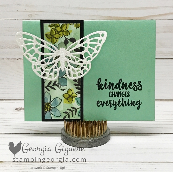 This pop up butterfly card looks complicated, but it's not! Complete details on my blog . . . www.stampingeorgia.com #springtimeimpressionsframelits #sharewhatyoulovespecialtypaper #classiclabelpunch