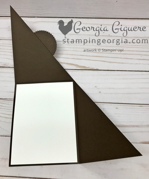 Diagonal Cut & Fold Card Technique . . . You'll love this twist on the traditional card! By simply scoring and cutting in a new way, you've got a card that opens in an unique and fun way! Complete details on my blog . . . www.stampingeorgia.com #funfoldtechnique #woodtexturespaper #masculinecardidea
