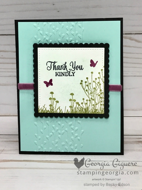 This Enjoy Life Thank You card is so adorable! The images in the Enjoy Life stamp set pair perfectly with the Petal Pair Embossing Folder . . . complete details on my blog . . . https://wp.me/p92iP7-312 #enjoylifestampset #thankyoucard