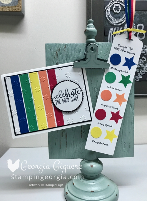 Versatile Card and bookmark feature the 2018-20 In Colors! It's super easy and your paper will go a long way! Details on my blog: www.stampingeorgia.com SHOP: www.georgia.stampinup.net