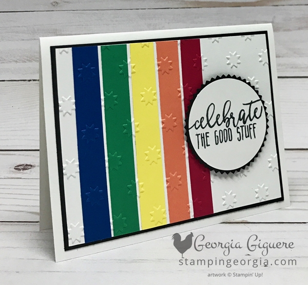 Versatile In Color Card features the 2018-20 In Colors! It's super easy and your paper will go a long way! Details on my blog: www.stampingeorgia.com SHOP: www.georgia.stampinup.net