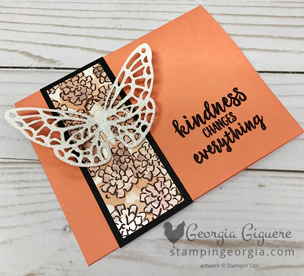This pop through butterfly card looks complicated, but it's not! Complete details on my blog . . . www.stampingeorgia.com #springtimeimpressionsframelits #sharewhatyoulovespecialtypaper #classiclabelpunch