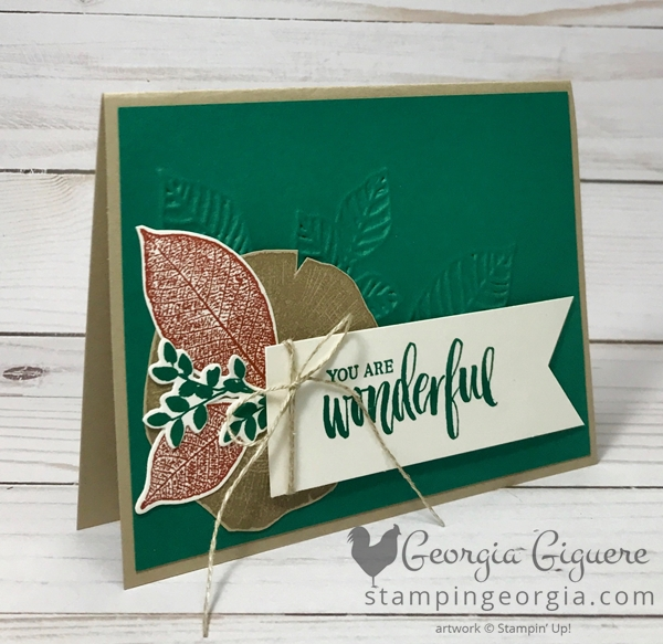 Embossed Thinlits Background on this Rooted in Nature card . . . complete details on my blog . . . www.stampingeorgia.com Shop: www.georgia.stampinup.net #rootedinnaturestamps #masculinecard #embossedthinlits