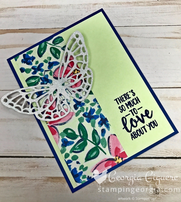 Popping Through Butterfly Card features Abstract Impressions Bundle and Garden Impressions Designer Series Paper Stack. Complete details on my blog. . . www.stampingeorgia.com Shop @ www.georgia.stampinup.net #abstractimpressionsbundle #gardenimpressionspaper
