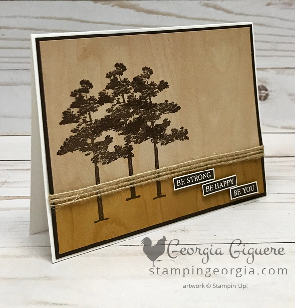 Same card, same paper . . . different print! Rooted in Nature Meets Wood Textures Paper . . . It doesn't get much easier than stamping directly on the Wood Textures Designer Paper! It's the perfect background for the trees in the Rooted in Nature stamp set. Complete details on my blog . . . https://wp.me/p92iP7-31i Shop: www.georgia.stampinup.net #RootedinNaturestamps #masculinecard #woodtexturesdesignerseriespaper