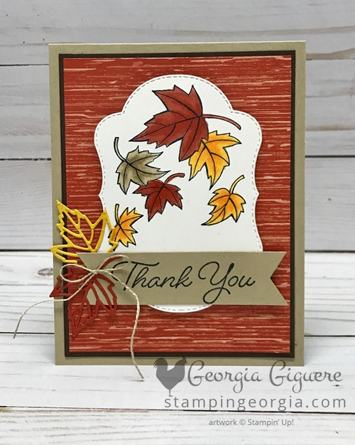 Blended Seasons Fall Thank You card features the Blended Seasons Bundle (stamps and Stitched Seasons Framelits) and coloring with the Stampin' Blends Markers! Complete details on my blog: SHOP: www.georgia.stampinup.net #blendedseasonsbundle #fallthankyou #StampinBlendsmarkers