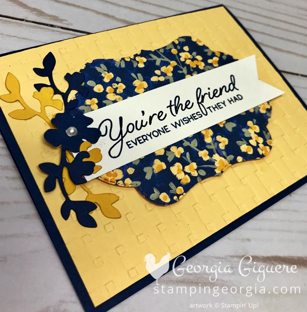 Blended Seasons Floral Card features the stamp set and Stitched Seasons Framelits with the Garden Impressions Designer Series Paper. Details on my blog . . . #coloryourseasonpromotion #blendedseasonsbundle #stitchedseasonsframelits #basketweaveembossingfolder