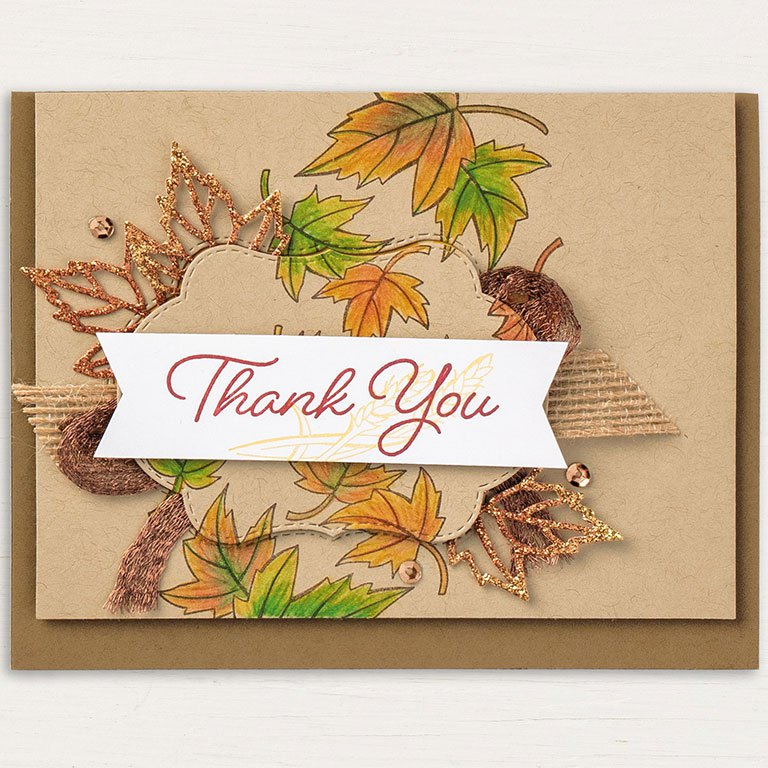 Blended Seasons fall thank you card by Stampin' Up! features the stamp set and framelits from the Blended Seasons Bundle available at 10% off and only in August 2018. SHOP: www.georgia.stampinup.net #blendedseasonsbundle