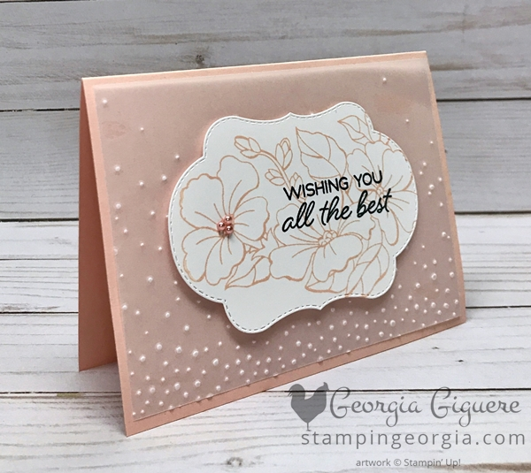 Versatile Color Your Season Card could be finished with any color and alternate greetings. Shown here in Petal Pink. Complete details on my blog . . . www.stampingeorgia.com #coloryourseasonbundle