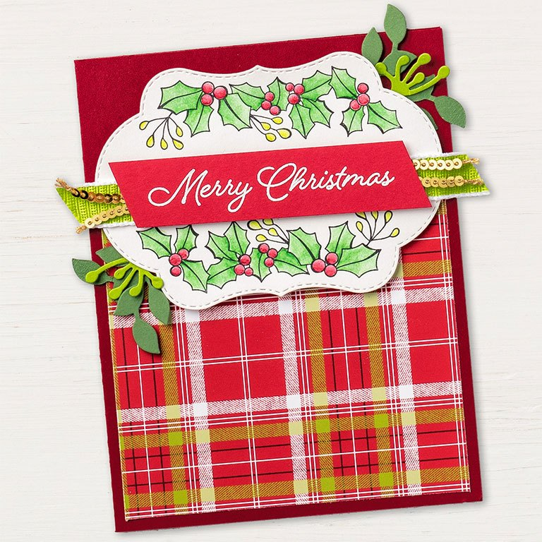 Blended Seasons Christmas card by Stampin' Up! features the stamp set and framelits from the Blended Seasons Bundle available at 10% off and only in August 2018. SHOP: www.georgia.stampinup.net #blendedseasonsbundle