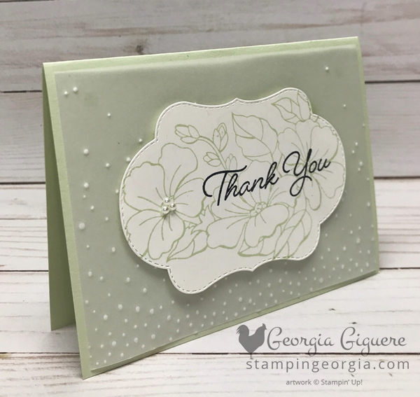 Versatile Color Your Season Card could be finished with any color and alternate greetings. Shown here in Soft Sea Foam. Complete details on my blog . . . www.stampingeorgia.com #coloryourseasonbundle