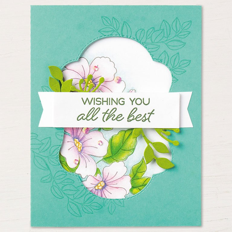 Blended Seasons springtime card by Stampin' Up! features the stamp set and framelits from the Blended Seasons Bundle available at 10% off and only in August 2018. SHOP: www.georgia.stampinup.net #blendedseasonsbundle
