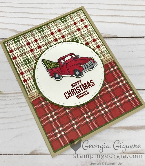 Farmhouse Christmas Card features that adorable truck and the Festive Farmhouse Designer Series Paper. Complete details on my blog: SHOP: www.georgia.stampinup.net #farmhousechristmas #christmascardidea #festivefarmhouse