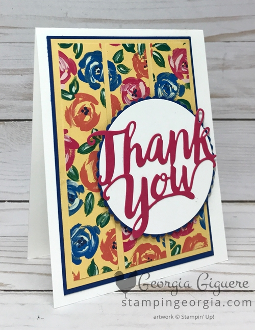 Garden Impressions Thank You card features Garden Impressions Designer Series Paper Stack and the Thank You Thinlits Dies. Complete details on my blog . . . #gardenimpressionsdesignerpaper #thankyouthinlitsdies #thankyoucard