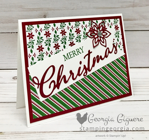 Merry Christmas to All card features the Dashing Along Designer Paper available to qualifying hosts in September. Card details on my blog: SHOP: www.georgia.stampinup.net #dashingalongdesignerpaper #merrychristmastoallbundle #Christmascardidea