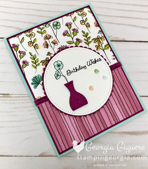 Varied Vases Birthday Card features the Share What You Love Specialty Paper and the Layering Circles Framelits. Details on my blog . . . SHOP: www.georgia.stampinup.net #variedvasesbundle #birthdaycard #sharewhatyoulovespecialtydesignerseriespaper