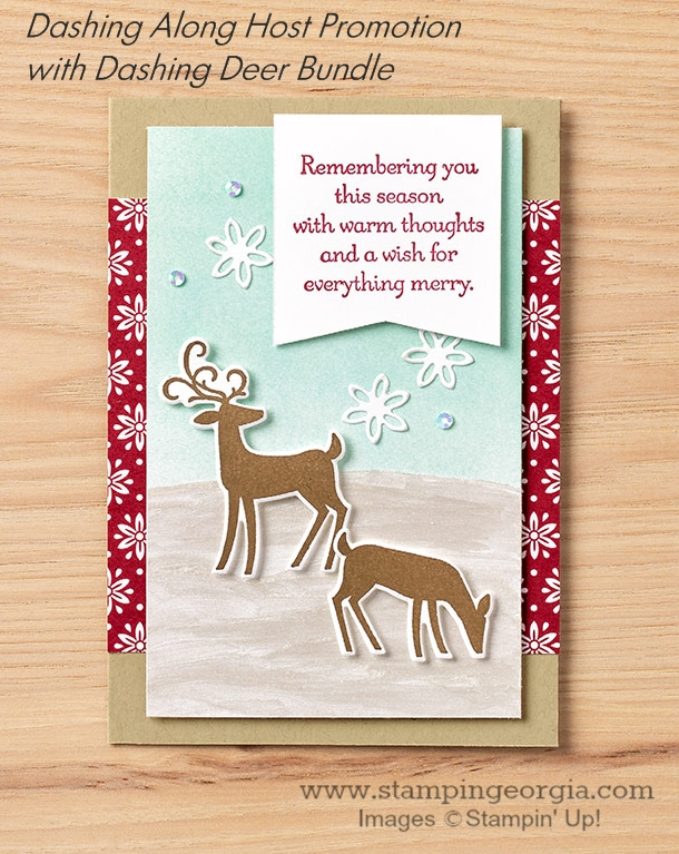 Dashing Deer Christmas card features the Dashing Along Designer Paper (free with a qualifying order in September) and the Dashing Deer Bundle! Details on my blog: SHOP: www.georgia.stampinup.net #dashingalonghostpromotion #dashingdeerbundle #christmascardidea