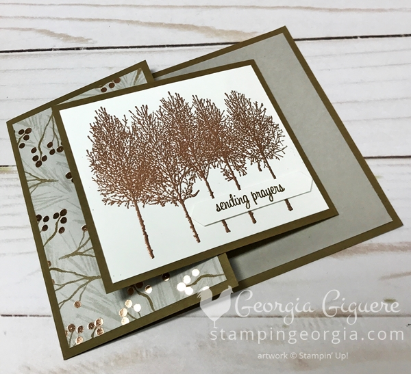 This Winter Woods sympathy card features a card inside a card technique and is super easy to make! Features the Winter Woods stamp set and Joyous Noel Designer Series Paper. Card details on my blog: SHOP: www.georgia.stampinup.net #winteerwoods #sympathycardidea