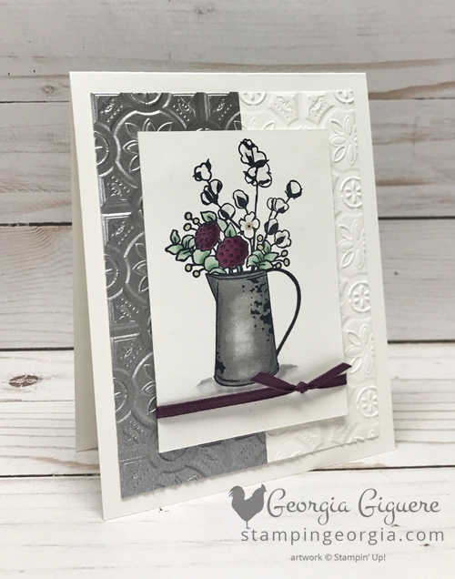 Country Home All Occasion card features the new Tin Tile Dynamic Textured Impressions Embossing Folder! Details on my blog: SHOP: www.georgia.stampinup.net #countryhome #tintileembossingfolder