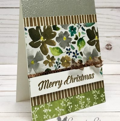 Frosted Floral Card with Easy No Slide Tie