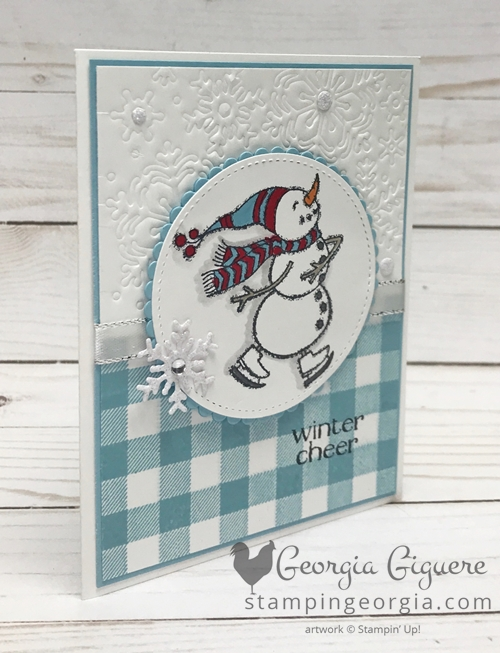 Spirited Snowmen Winter Cheer Card features Blizzard Thinlit Die & Buffalo Check background stamp. Complete details plus printable instructions on my blog: https://wp.me/p92iP7-36N SHOP: www.georgia.stampinup.net #spiritedsnowmen #blizzardthinlitdie #buffalocheckbackground #wintercardidea