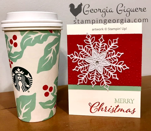 Snowfall Merry Christmas Card features the beautifully detailed Snowfall Thinlits Dies and Merry Christmas to All stamp set. Details on my blog: https://wp.me/p92iP7-38j SHOP: www.georgia.stampinup.net